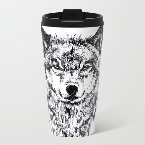 Wolf - Black 'n White Metal Travel Mug
