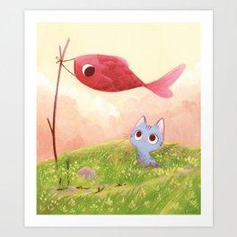 Cat and red fish Art Print