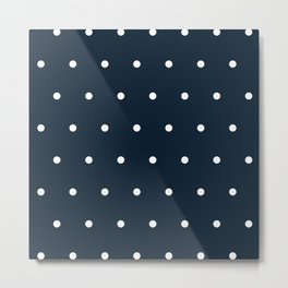 Navy Blue and White Polka Dots Pattern Metal Print