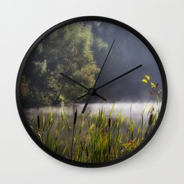 Autumn Mist at Mallards Pike Wall Clock