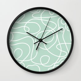 Doodle Line Art | White Lines on Mint Green Wall Clock