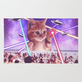 cat invader from space galaxy marsians attacking beach Rug