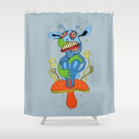 mushroom Shower Curtains featuring mushroom by Zura