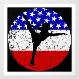 American Flag Figure Skating Art Print
