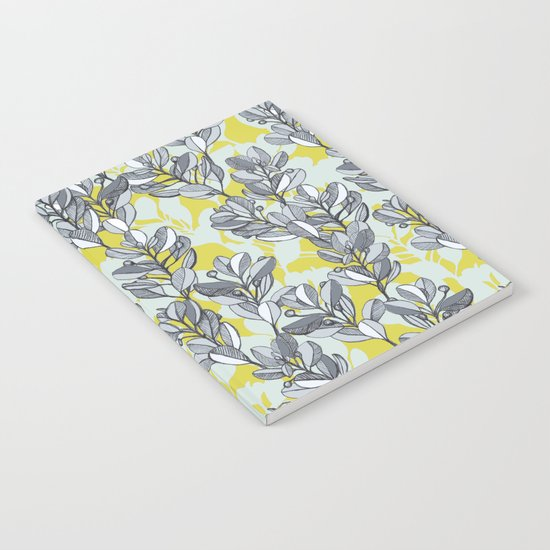 Leaf and Berry Sketch Pattern in Mustard and Ash Notebook