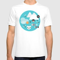 Cute winter wonderland penguin and white bear pattern MEDIUM White Mens Fitted Tee