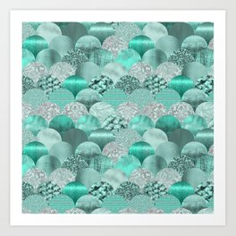 Green Turquoise Glamour Mermaid Scale Pattern Art Print
