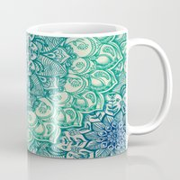 navy Mugs featuring Emerald Doodle by micklyn