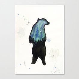 Aurora Borialis Bear Canvas Print