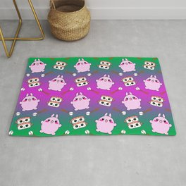 Cute funny Kawaii chibi little pink baby bunnies, happy sweet cheerful sushi with shrimp on top, rice balls and chopsticks colorful green and purple pattern design. Rug