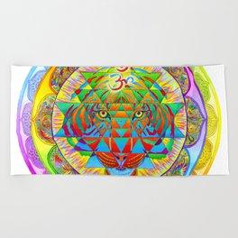 Inner Strength Psychedelic Tiger Sri Yantra Mandala Beach Towel