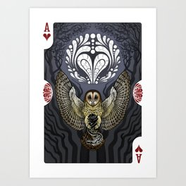 Owl Deck: Ace of Hearts Art Print