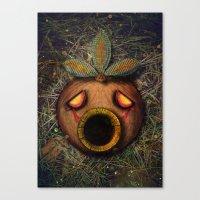 majoras mask Canvas Prints featuring Deku Mask by Stephano Herrera