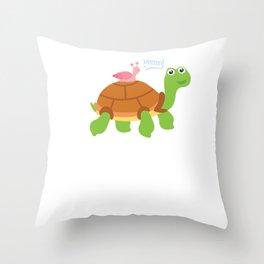 Cute Snail Riding Turtle Animal Friends Throw Pillow