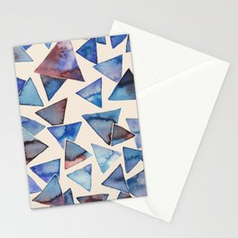Triangle pattern watercolor painting Stationery Cards