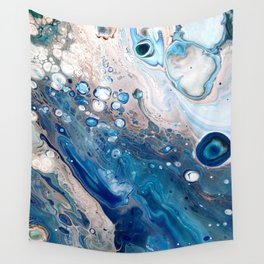 Blue Marbled Fluid Painting Unique Swirls Water Wall Tapestry