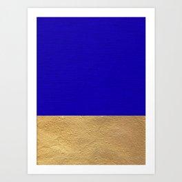 Color Blocked Gold & Cerulean Art Print