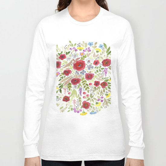 Hand drawn watercolor flowers, cute floral print Long Sleeve T-shirt