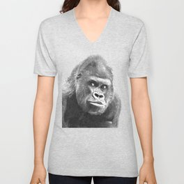 Black and White Gorilla Unisex V-Neck
