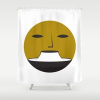 no face Shower Curtains featuring Face  by Booze Potato