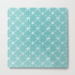 Floral Geometric Pattern Aqua Sky Metal Print