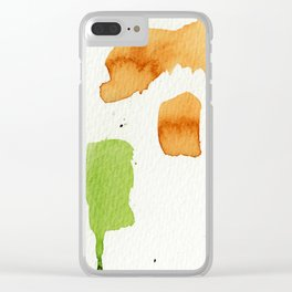 Orange and Green Abstract Art Clear iPhone Case