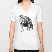 english bulldog V-neck T-shirts featuring English Bulldog by BIOWORKZ