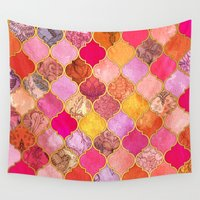 hot Wall Tapestries featuring Hot Pink, Gold, Tangerine & Taupe Decorative Moroccan Tile Pattern by micklyn