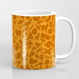 Alphabet Compendium Letter Silhouette Pattern - Orange Coffee Mug