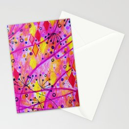 INTO THE FALL 2 - Whimsical Pink Purple Autumn Floral Watercolor Abstract Nature Pattern Fine Art  Stationery Cards