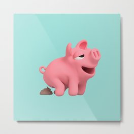 Rosa the Pig takes a poop Metal Print