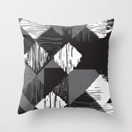 Rhomb - black, white & grey Throw Pillow
