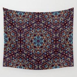 Brown and blue geometric Mandala Rich ornament Wall Tapestry
