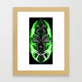 Skull ornament green Framed Art Print