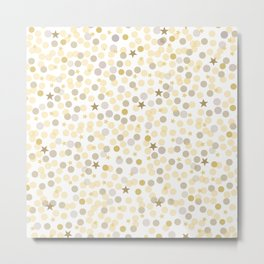 Gold and Metallic Colors Circles and Stars. Confetti White Background Pattern Metal Print
