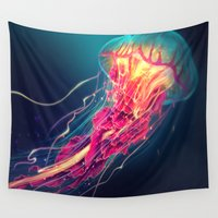 jellyfish Wall Tapestries featuring Jellyfish by Nikittysan