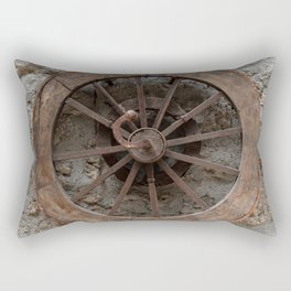 Wooden wheel hanging on a stone wall Rectangular Pillow