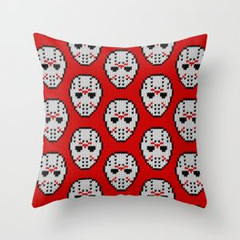Knitted Jason hockey mask pattern Throw Pillow