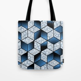 Abstract Blue Cubic Effect Design Tote Bag