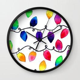 Colorful Christmas Holiday Light Bulbs Wall Clock