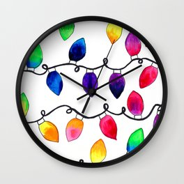 Colorful Christmas Holiday Light Bulbs Wall Clock