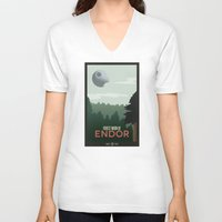 travel poster V-neck T-shirts featuring Endor Travel Poster by Tawd86