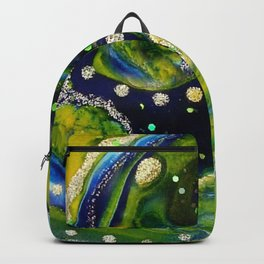 Light Blue Green and Yellow Swirl Acrylic Painting Backpack