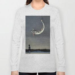 """ Moon's First Voyage"" Fairy Art by W Heath Robinson Long Sleeve T-shirt"