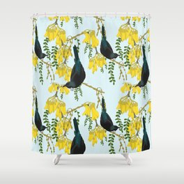 Tuis in the Kowhai Flowers Shower Curtain