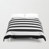 stripes Duvet Covers featuring Horizontal Stripes (Black/White) by 10813 Apparel
