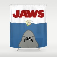 movie poster Shower Curtains featuring JAWS Movie Poster by Monkey Chow