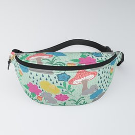 Rainy day on green background Fanny Pack