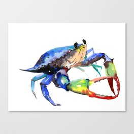 Crab, Sea World Rainbow Colors Beach Canvas Print
