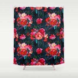 Neon pink fuchsia black watercolor modern floral Shower Curtain